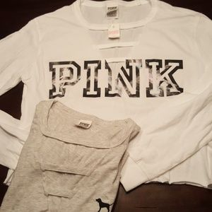 Set of 2 Pink crop tops white gray